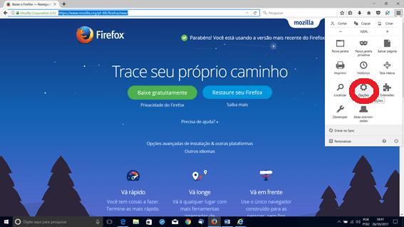 Item Opções no Firefox. Passo 1 da Configuração