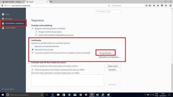 Item Certificados no Firefox. Passo 2 da Configuração