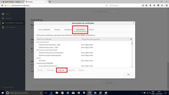 Importando o certificado no Firefox. Passo 3 da Configuração
